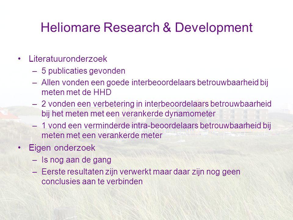 Heliomare Research & Development Literatuuronderzoek –5 publicaties gevonden –Allen vonden een goede interbeoordelaars betrouwbaarheid bij meten met d