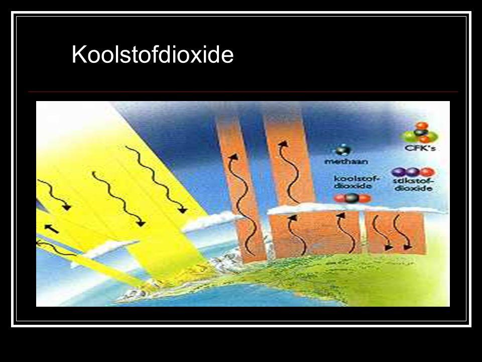 Koolstofmonooxide CO ontstaat bij veel verbrandingen als er te weinig zuurstof aanwezig is Concentratie CO langs drukke wegen vaak hoger dan veilig geacht Effect van langdurige blootstelling: aantasting luchtwegen en vaatwanden Veroorzaker: verkeer Oplossing: afstelling motoren