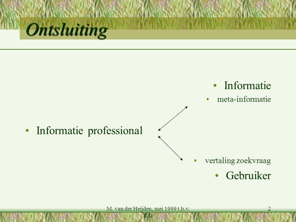 M. van der Heijden, mei 1999 t.b.v. ILG 2 Ontsluiting Informatie meta-informatie Informatie professional vertaling zoekvraag Gebruiker