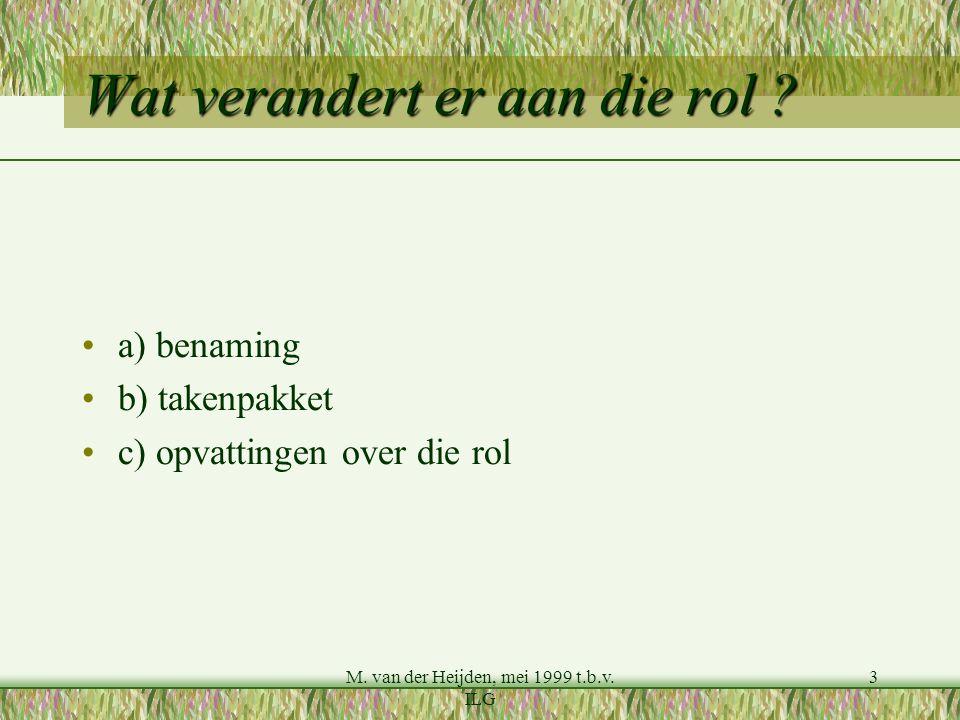 M. van der Heijden, mei 1999 t.b.v. ILG 3 Wat verandert er aan die rol ? a) benaming b) takenpakket c) opvattingen over die rol