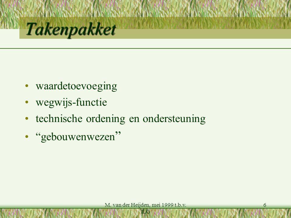 """M. van der Heijden, mei 1999 t.b.v. ILG 6 Takenpakket waardetoevoeging wegwijs-functie technische ordening en ondersteuning """"gebouwenwezen """""""
