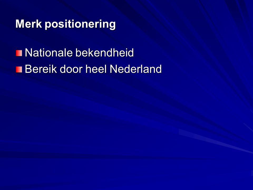 Merk positionering Nationale bekendheid Bereik door heel Nederland