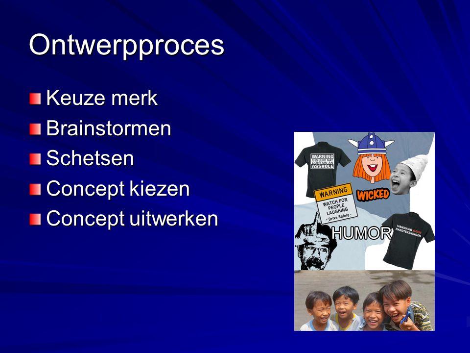 Ontwerpproces Keuze merk BrainstormenSchetsen Concept kiezen Concept uitwerken