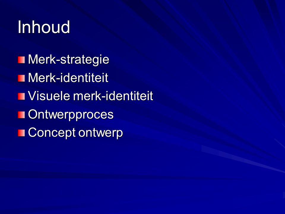Inhoud Merk-strategieMerk-identiteit Visuele merk-identiteit Ontwerpproces Concept ontwerp
