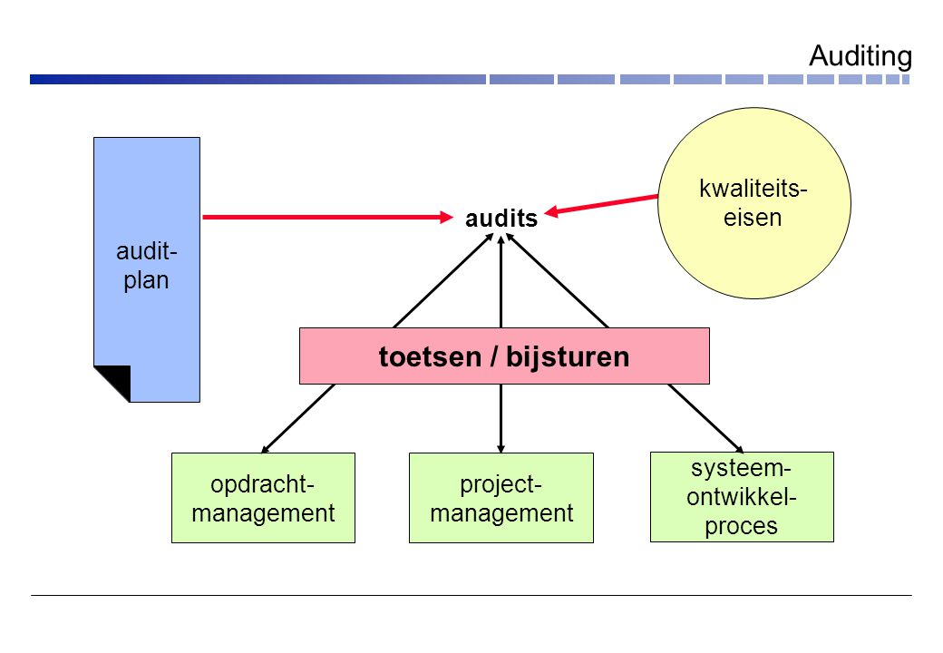 audits opdracht- management project- management systeem- ontwikkel- proces audit- plan kwaliteits- eisen toetsen / bijsturen Auditing