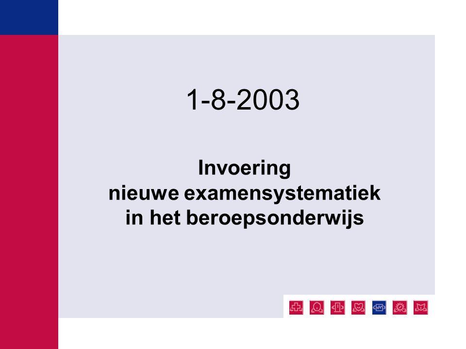 Invoering nieuwe examensystematiek in het beroepsonderwijs 1-8-2003