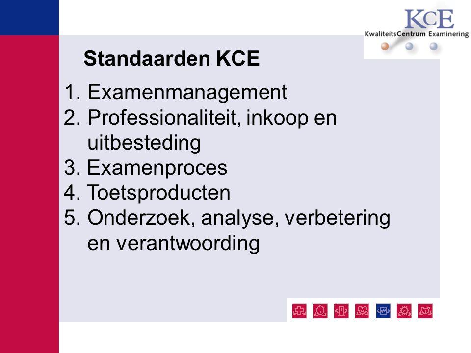 1.Examenmanagement 2.Professionaliteit, inkoop en uitbesteding 3. Examenproces 4. Toetsproducten 5.Onderzoek, analyse, verbetering en verantwoording S