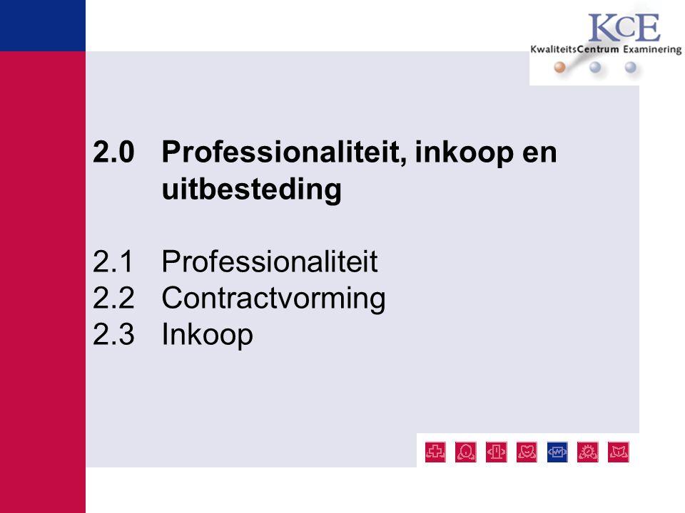 2.0 Professionaliteit, inkoop en uitbesteding 2.1 Professionaliteit 2.2 Contractvorming 2.3 Inkoop