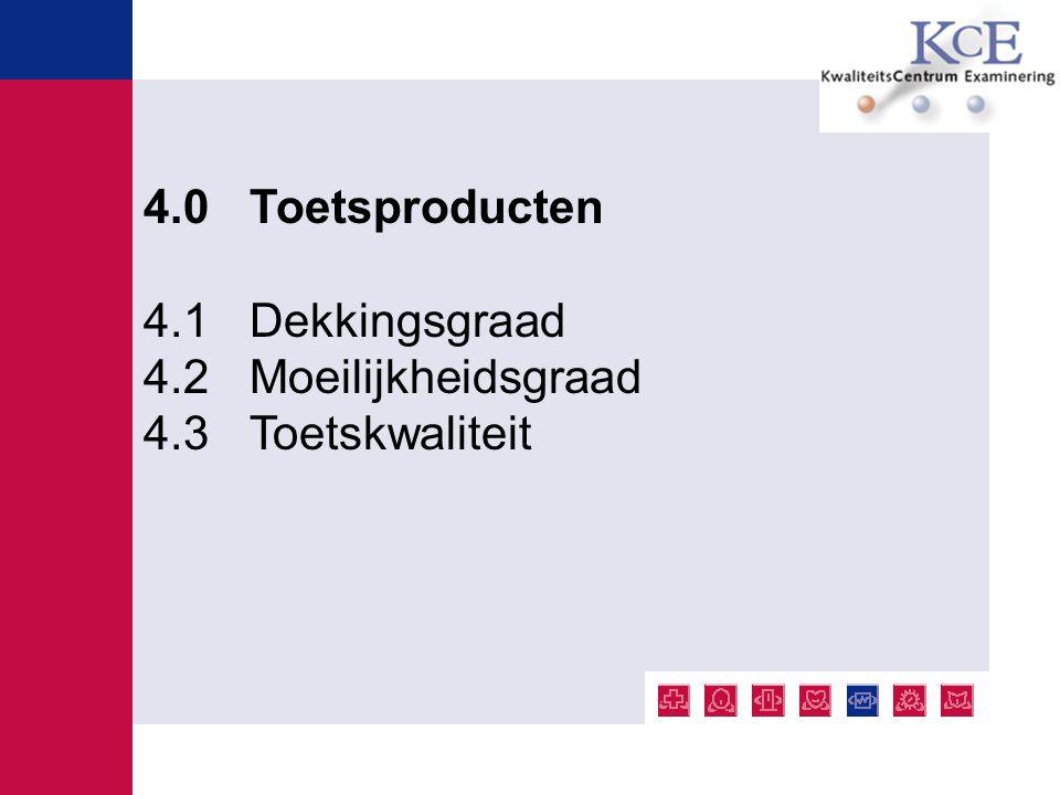 4.0 Toetsproducten 4.1 Dekkingsgraad 4.2 Moeilijkheidsgraad 4.3 Toetskwaliteit