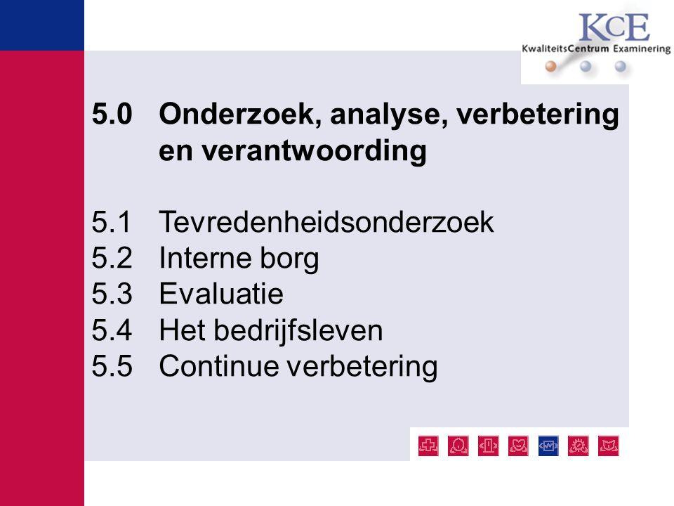 5.0 Onderzoek, analyse, verbetering en verantwoording 5.1 Tevredenheidsonderzoek 5.2 Interne borg 5.3 Evaluatie 5.4 Het bedrijfsleven 5.5 Continue ver