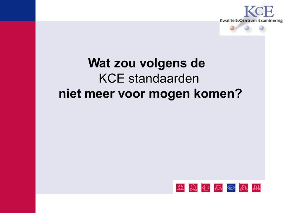 Wat zou volgens de KCE standaarden niet meer voor mogen komen?