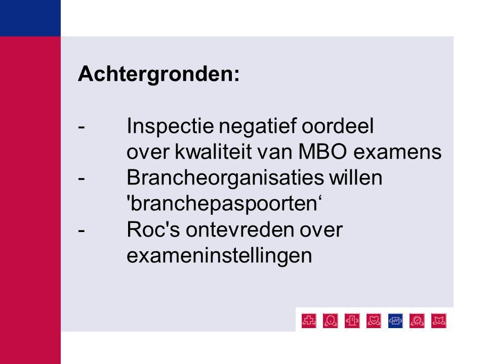 Achtergronden: -Inspectie negatief oordeel over kwaliteit van MBO examens - Brancheorganisaties willen 'branchepaspoorten' - Roc's ontevreden over exa