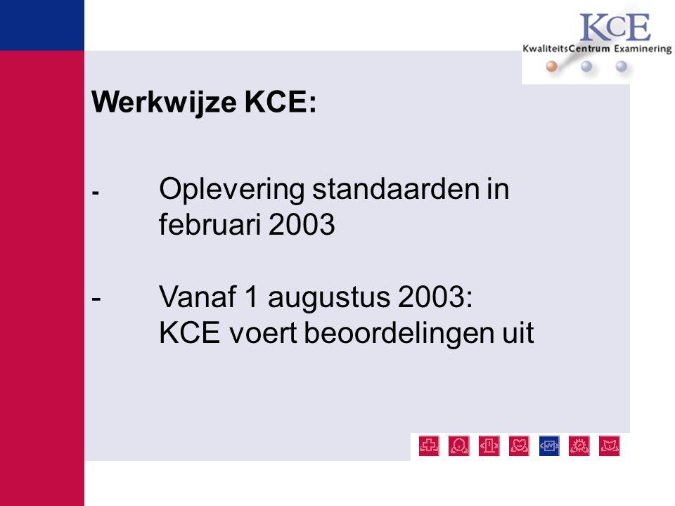 - Centrale vraag beoordeling: voldoet de examinering aan de standaarden van KCE.