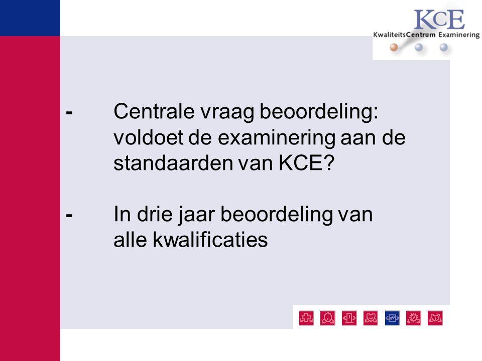 - Centrale vraag beoordeling: voldoet de examinering aan de standaarden van KCE? - In drie jaar beoordeling van alle kwalificaties