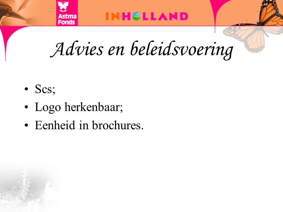 Advies en beleidsvoering Scs; Logo herkenbaar; Eenheid in brochures.