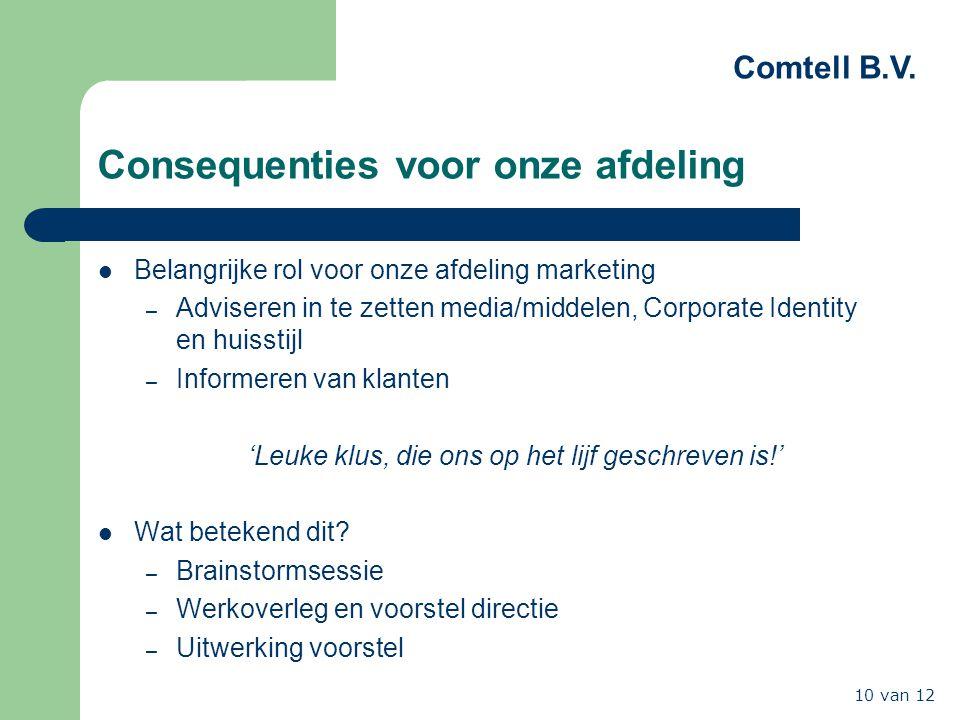 Comtell B.V. 10 van 12 Consequenties voor onze afdeling Belangrijke rol voor onze afdeling marketing – Adviseren in te zetten media/middelen, Corporat