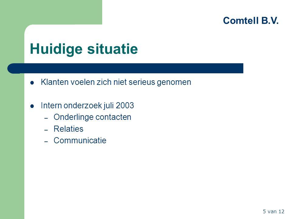 Comtell B.V. 5 van 12 Huidige situatie Klanten voelen zich niet serieus genomen Intern onderzoek juli 2003 – Onderlinge contacten – Relaties – Communi