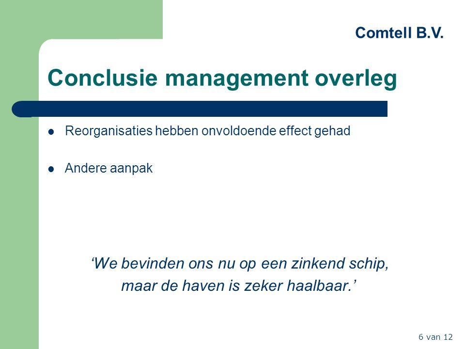 Comtell B.V. 6 van 12 Conclusie management overleg Reorganisaties hebben onvoldoende effect gehad Andere aanpak 'We bevinden ons nu op een zinkend sch