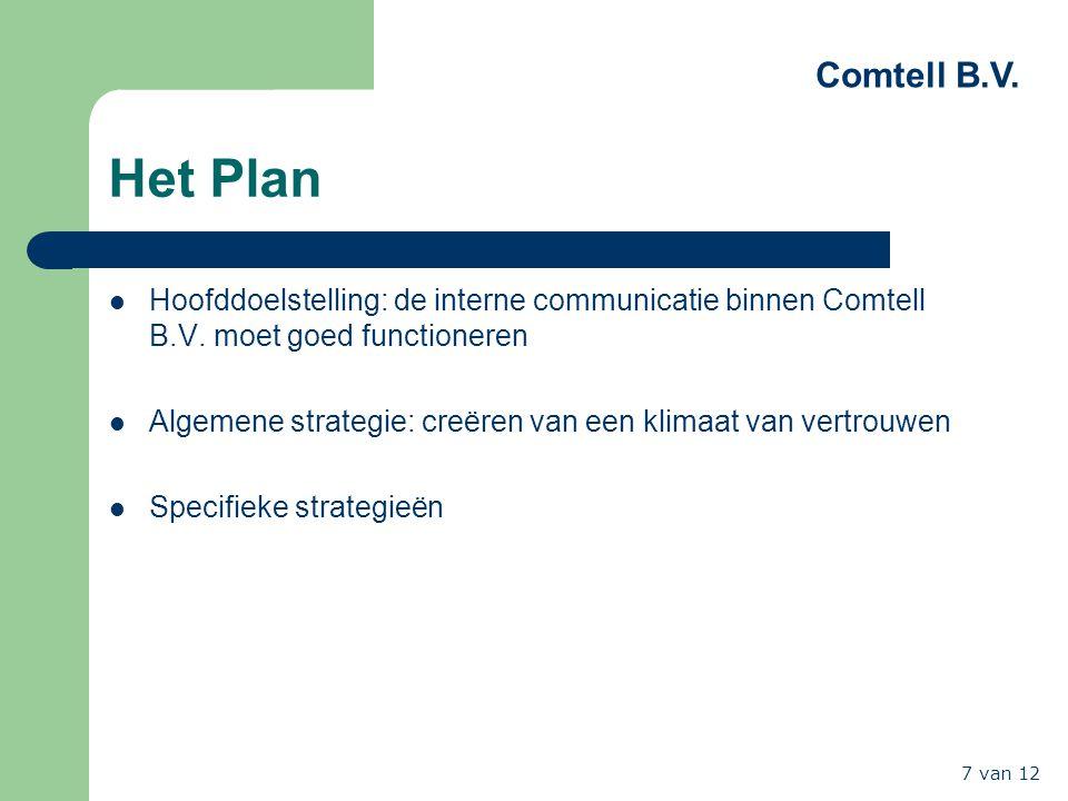 Comtell B.V. 7 van 12 Het Plan Hoofddoelstelling: de interne communicatie binnen Comtell B.V. moet goed functioneren Algemene strategie: creëren van e