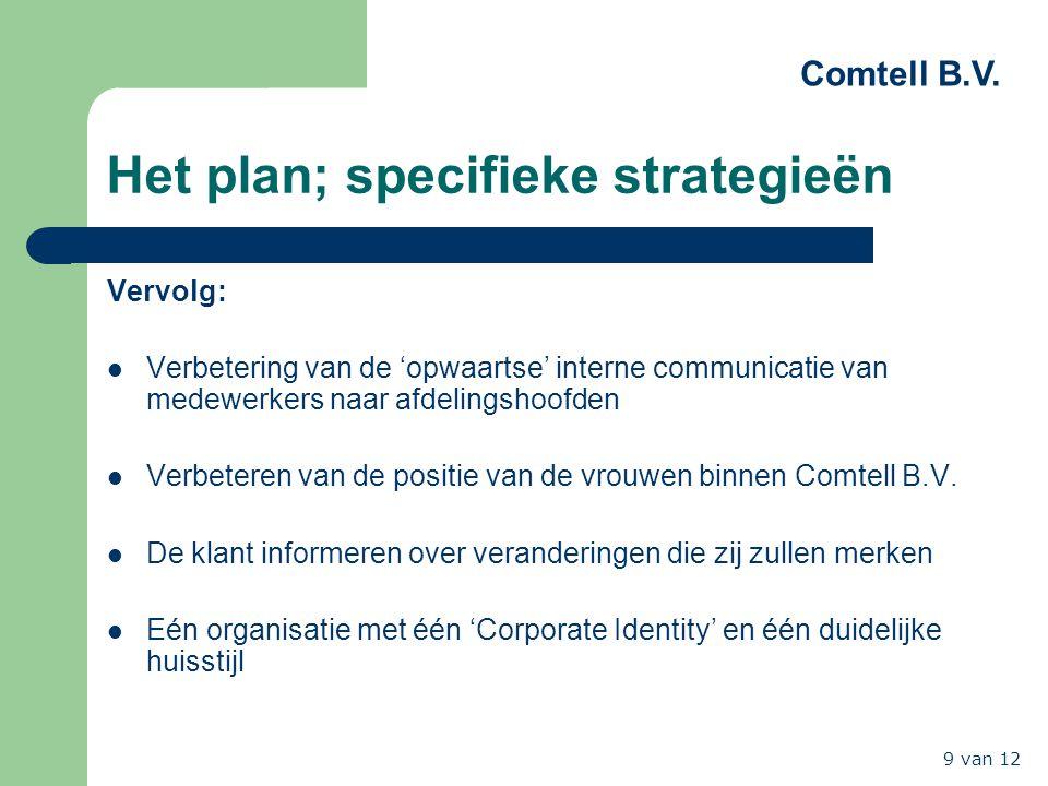 Comtell B.V. 9 van 12 Het plan; specifieke strategieën Vervolg: Verbetering van de 'opwaartse' interne communicatie van medewerkers naar afdelingshoof