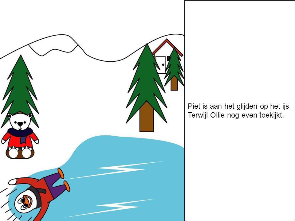 Piet is aan het glijden op het ijs Terwijl Ollie nog even toekijkt.