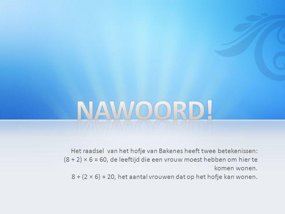 Het raadsel van het hofje van Bakenes heeft twee betekenissen: (8 + 2) × 6 = 60, de leeftijd die een vrouw moest hebben om hier te komen wonen.