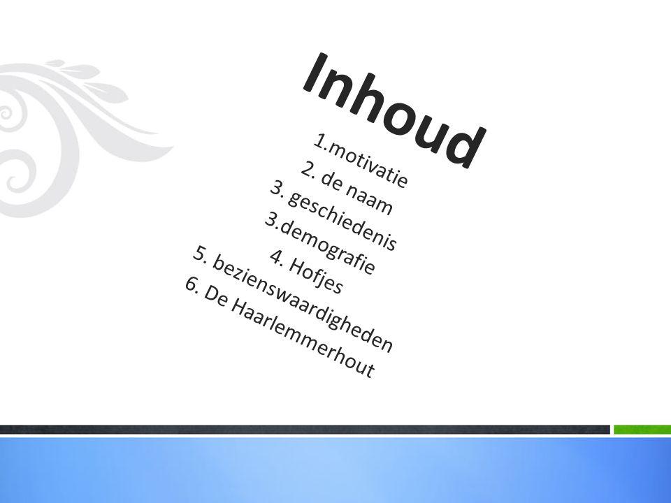 Inhoud 1.motivatie 2. de naam 3. geschiedenis 3.demografie 4. Hofjes 5. bezienswaardigheden 6. De Haarlemmerhout