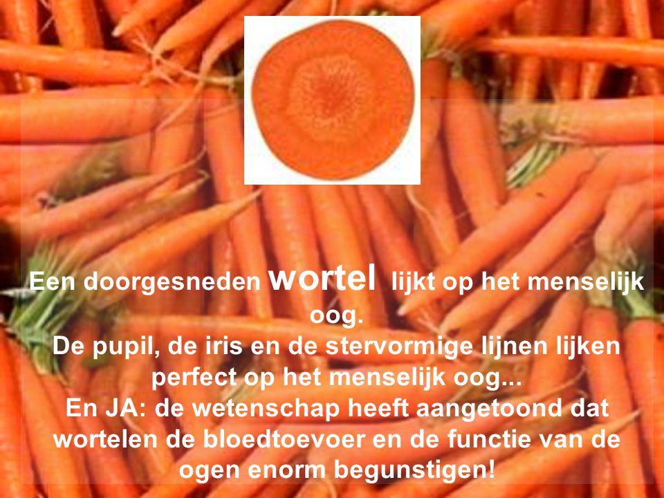 Een doorgesneden wortel lijkt op het menselijk oog. De pupil, de iris en de stervormige lijnen lijken perfect op het menselijk oog... En JA: de wetens