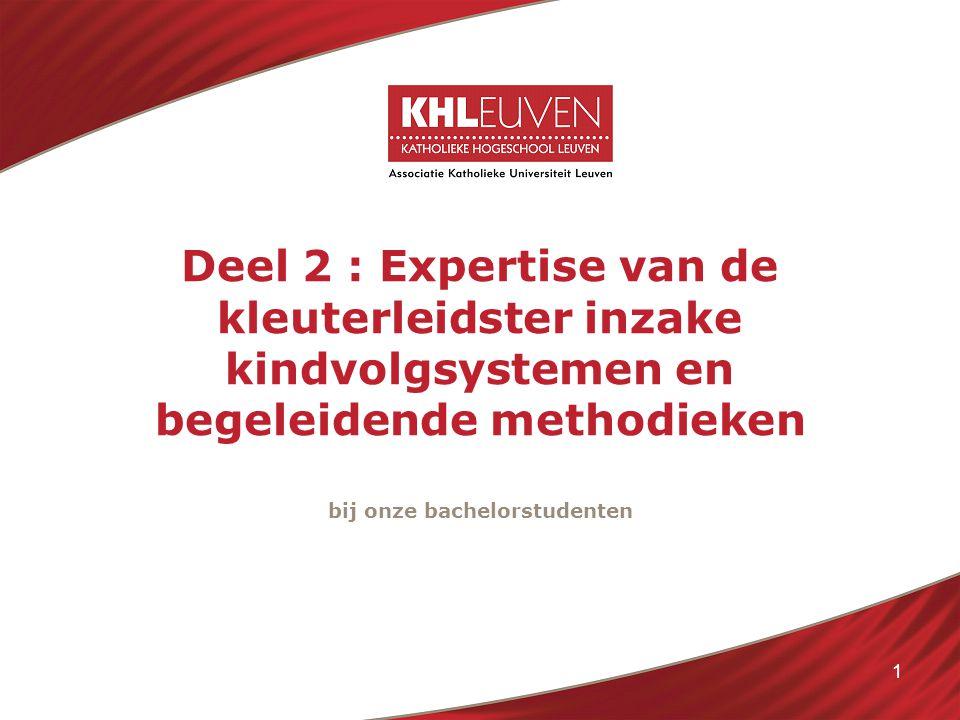 1 Deel 2 : Expertise van de kleuterleidster inzake kindvolgsystemen en begeleidende methodieken bij onze bachelorstudenten