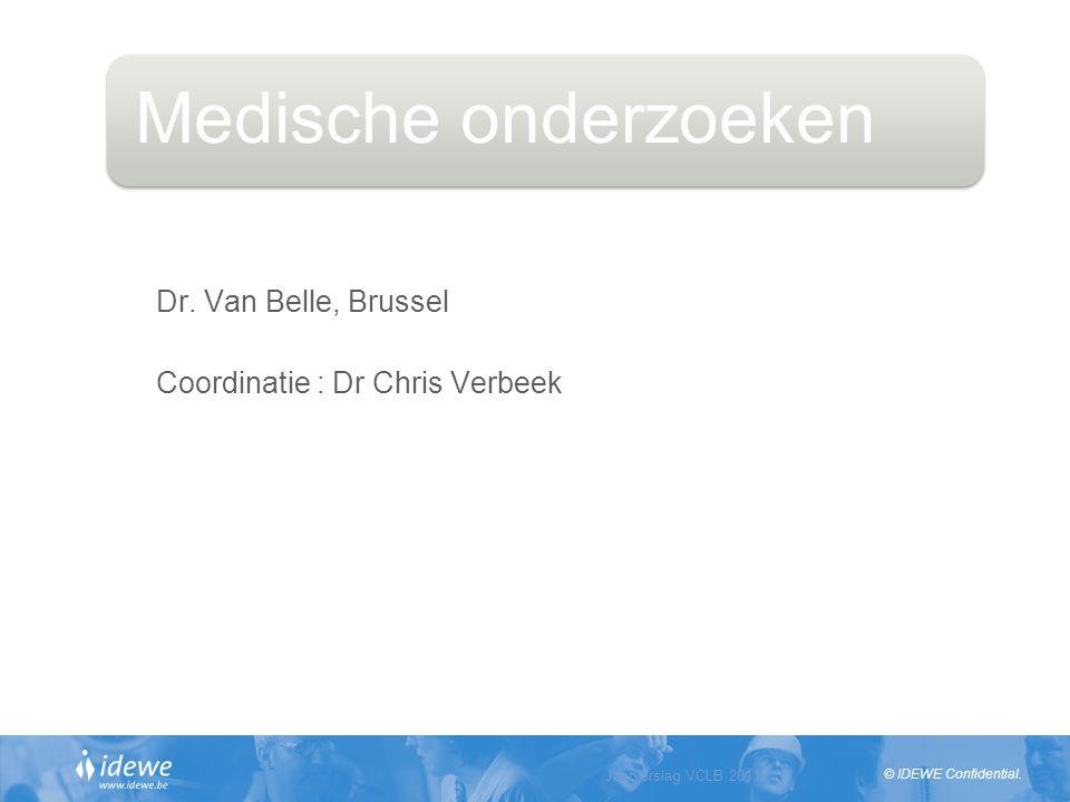 © IDEWE Confidential. Jaarverslag VCLB 2011 Slide 12 Medische onderzoeken Dr. Van Belle, Brussel Coordinatie : Dr Chris Verbeek