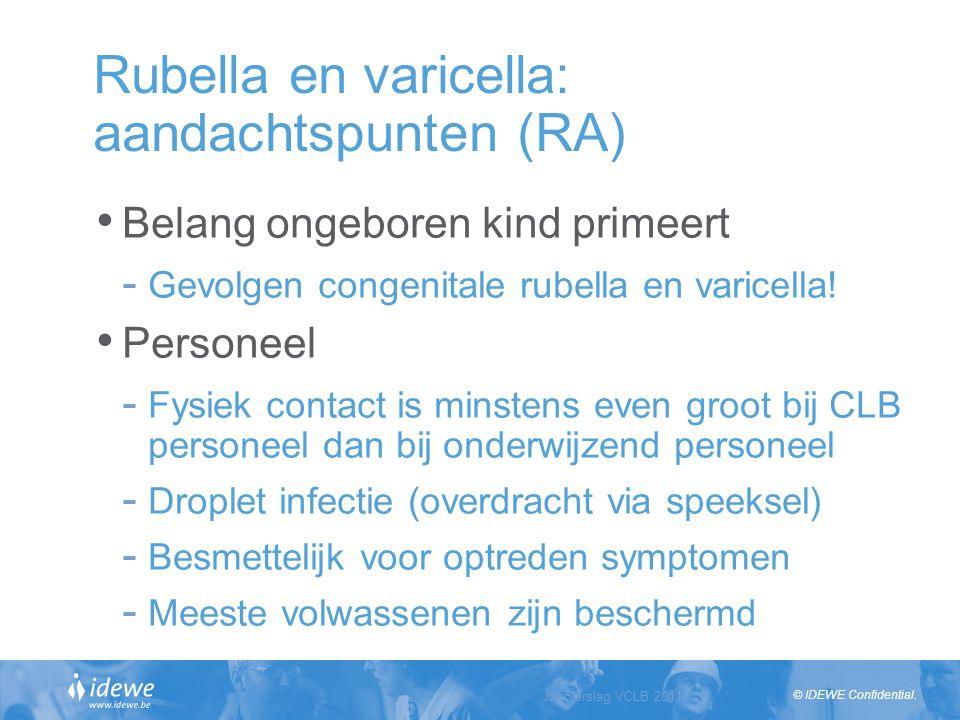 © IDEWE Confidential. Rubella en varicella: aandachtspunten (RA) Belang ongeboren kind primeert - Gevolgen congenitale rubella en varicella! Personeel