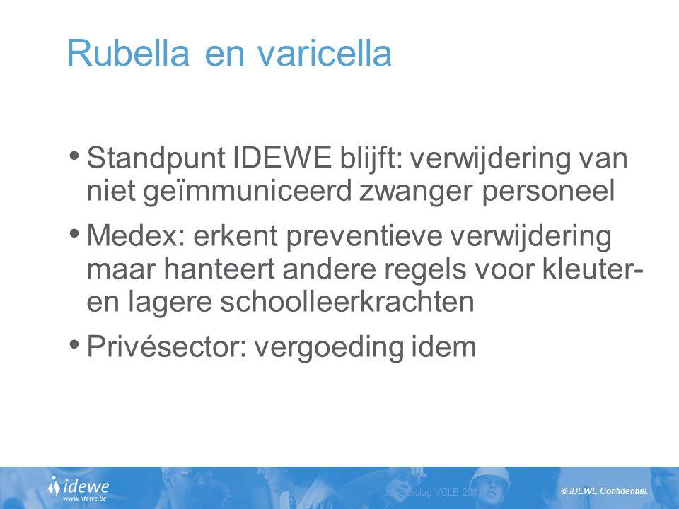 © IDEWE Confidential. Rubella en varicella Standpunt IDEWE blijft: verwijdering van niet geïmmuniceerd zwanger personeel Medex: erkent preventieve ver