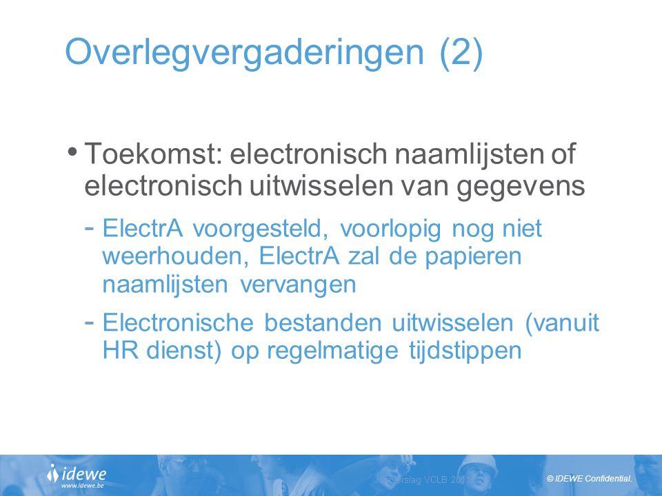 © IDEWE Confidential. Overlegvergaderingen (2) Toekomst: electronisch naamlijsten of electronisch uitwisselen van gegevens - ElectrA voorgesteld, voor