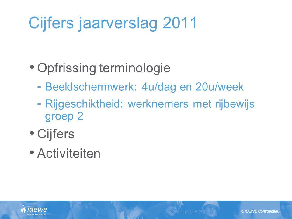 © IDEWE Confidential. Cijfers jaarverslag 2011 Opfrissing terminologie - Beeldschermwerk: 4u/dag en 20u/week - Rijgeschiktheid: werknemers met rijbewi