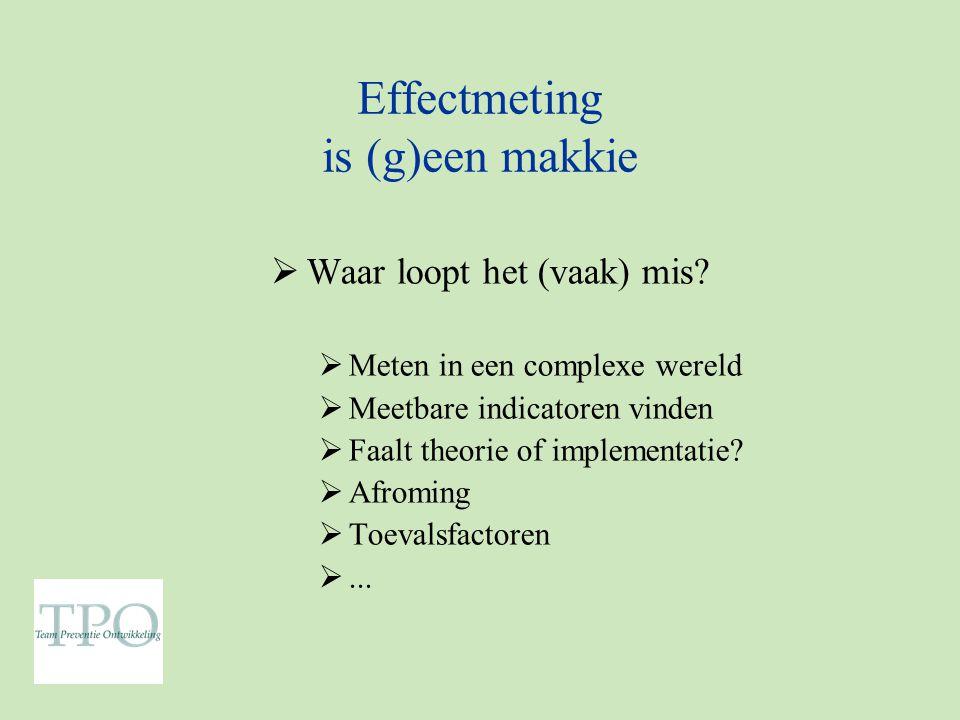 Effectmeting is (g)een makkie  Waar loopt het (vaak) mis.