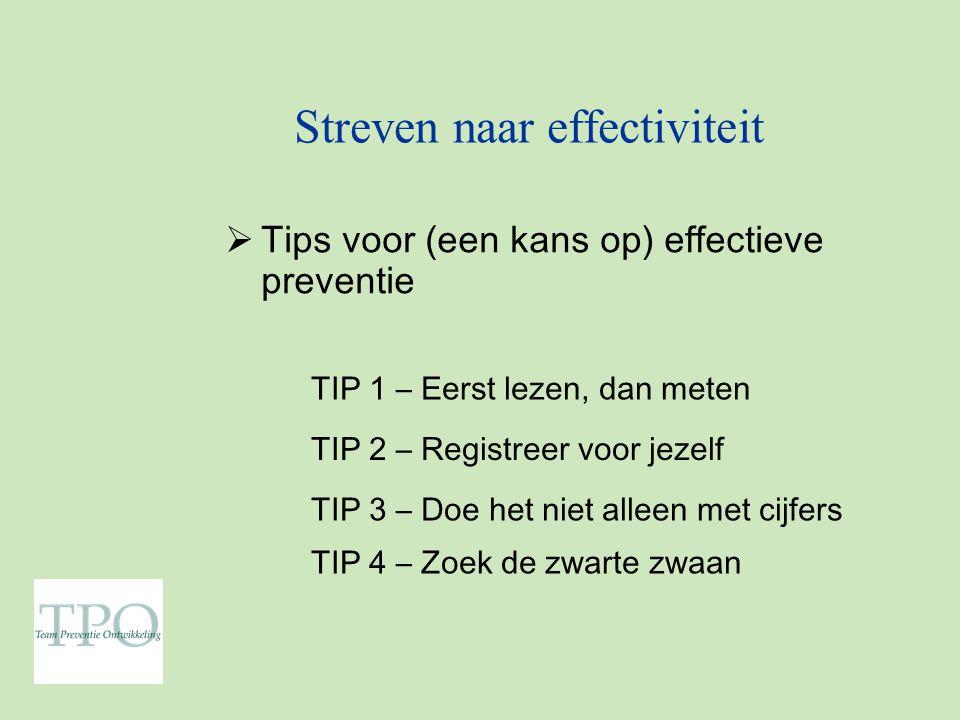 Streven naar effectiviteit  Tips voor (een kans op) effectieve preventie TIP 4 – Zoek de zwarte zwaan TIP 1 – Eerst lezen, dan meten TIP 2 – Registreer voor jezelf TIP 3 – Doe het niet alleen met cijfers