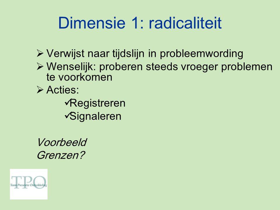 Dimensie 1: radicaliteit  Verwijst naar tijdslijn in probleemwording  Wenselijk: proberen steeds vroeger problemen te voorkomen  Acties: Registreren Signaleren Voorbeeld Grenzen?