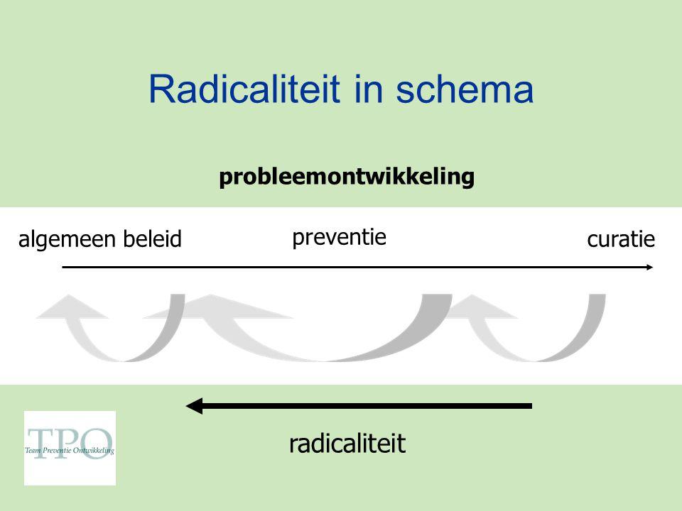 Radicaliteit in schema algemeen beleid preventie curatie probleemontwikkeling radicaliteit