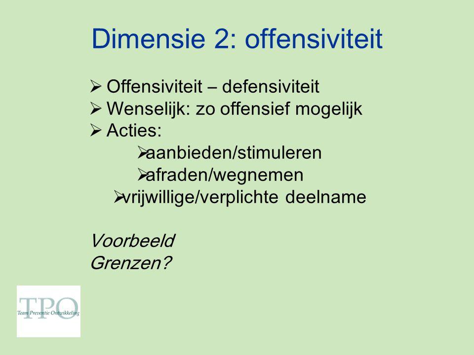 Dimensie 2: offensiviteit  Offensiviteit – defensiviteit  Wenselijk: zo offensief mogelijk  Acties:  aanbieden/stimuleren  afraden/wegnemen  vrijwillige/verplichte deelname Voorbeeld Grenzen?
