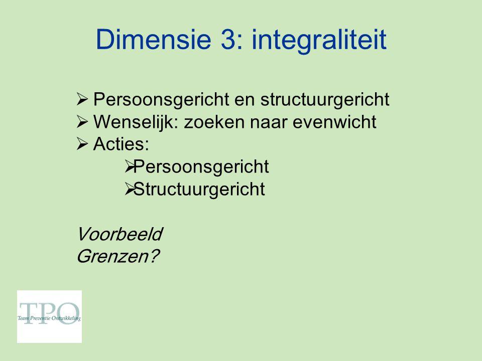 Dimensie 3: integraliteit  Persoonsgericht en structuurgericht  Wenselijk: zoeken naar evenwicht  Acties:  Persoonsgericht  Structuurgericht Voorbeeld Grenzen?