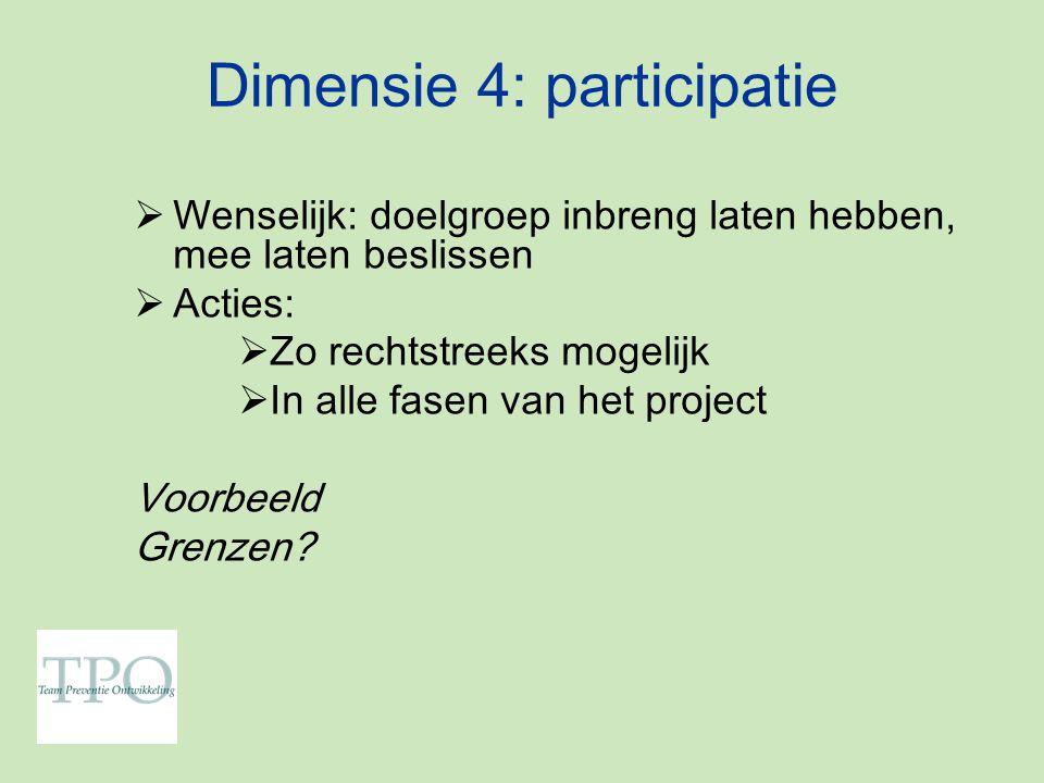 Dimensie 4: participatie  Wenselijk: doelgroep inbreng laten hebben, mee laten beslissen  Acties:  Zo rechtstreeks mogelijk  In alle fasen van het project Voorbeeld Grenzen?
