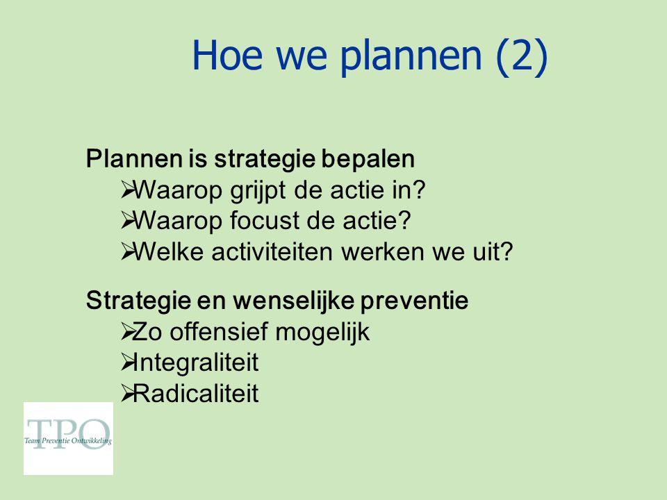 Hoe we plannen (2) Plannen is strategie bepalen  Waarop grijpt de actie in.