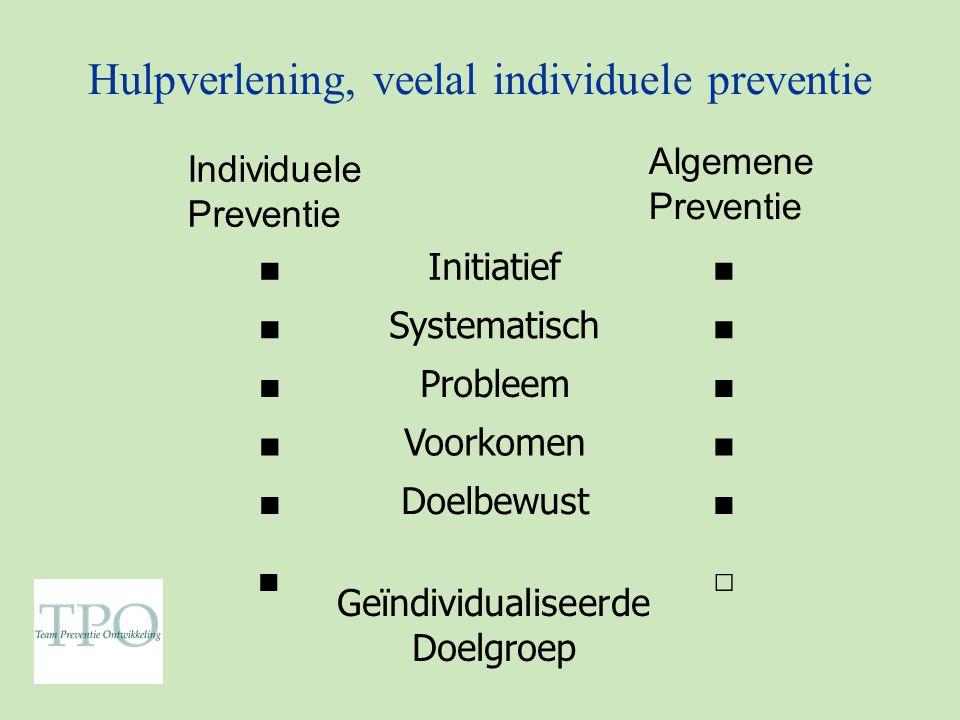 Hulpverlening, veelal individuele preventie ■ Initiatief ■ ■ Systematisch ■ ■ Probleem ■ ■ Voorkomen ■ ■ Doelbewust ■ ■ Geïndividualiseerde Doelgroep □ Individuele Preventie Algemene Preventie