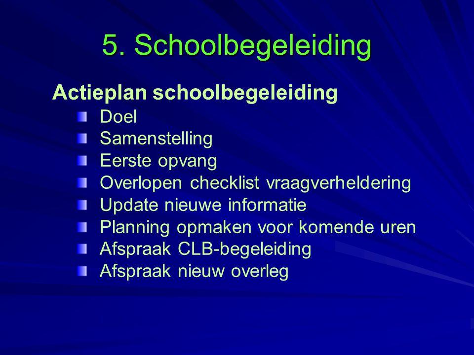 5. Schoolbegeleiding Actieplan schoolbegeleiding Doel Samenstelling Eerste opvang Overlopen checklist vraagverheldering Update nieuwe informatie Plann