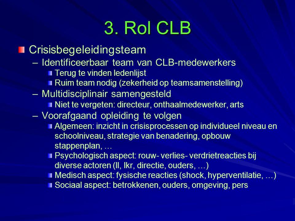 3. Rol CLB Crisisbegeleidingsteam – –Identificeerbaar team van CLB-medewerkers Terug te vinden ledenlijst Ruim team nodig (zekerheid op teamsamenstell