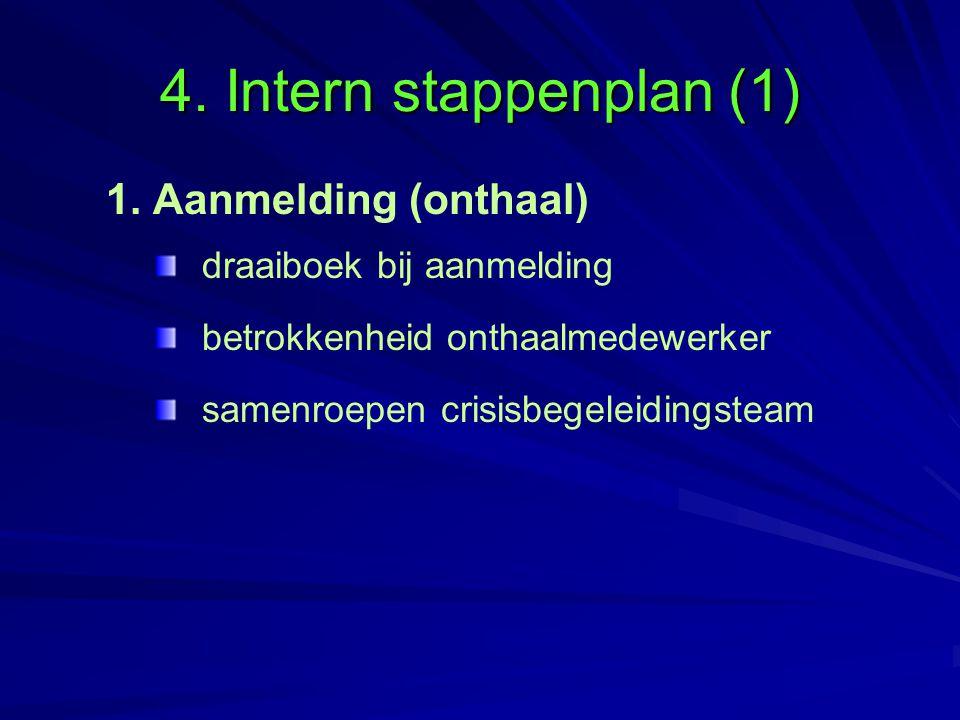 4. Intern stappenplan (1) 1. Aanmelding (onthaal) draaiboek bij aanmelding betrokkenheid onthaalmedewerker samenroepen crisisbegeleidingsteam