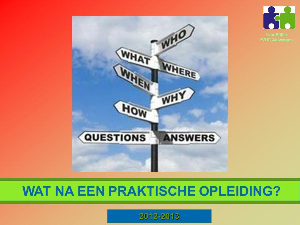 Tom Billiet PVOC Antwerpen ARBEIDSMARKT HBO5 SYNTRA 2012-2013 WAT NA EEN PRAKTISCHE OPLEIDING? SENSE