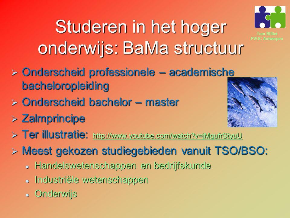 Tom Billiet PVOC Antwerpen Studeren in het hoger onderwijs: BaMa structuur  Onderscheid professionele – academische bacheloropleiding  Onderscheid bachelor – master  Zalmprincipe  Ter illustratie: http://www.youtube.com/watch?v=jMgufrStyuU http://www.youtube.com/watch?v=jMgufrStyuU  Meest gekozen studiegebieden vanuit TSO/BSO: Handelswetenschappen en bedrijfskunde Handelswetenschappen en bedrijfskunde Industriële wetenschappen Industriële wetenschappen Onderwijs Onderwijs