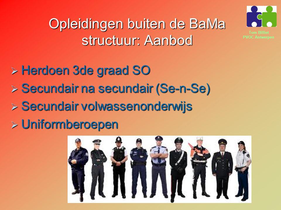 Tom Billiet PVOC Antwerpen Opleidingen buiten de BaMa structuur: Aanbod  Herdoen 3de graad SO  Secundair na secundair (Se-n-Se)  Secundair volwassenonderwijs  Uniformberoepen