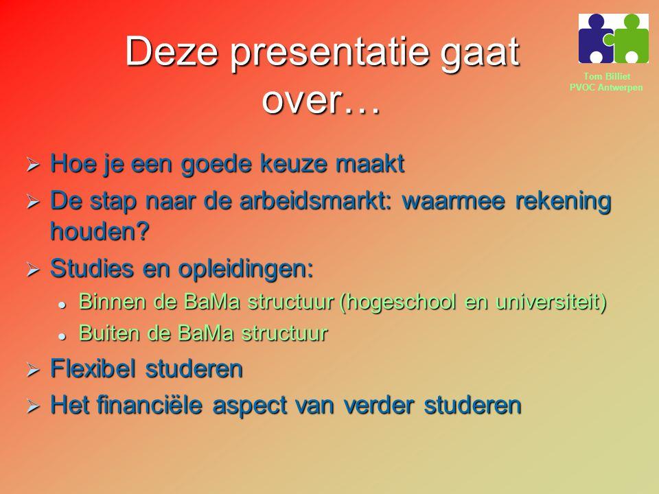 Tom Billiet PVOC Antwerpen Deze presentatie gaat over…  Hoe je een goede keuze maakt  De stap naar de arbeidsmarkt: waarmee rekening houden?  Studi